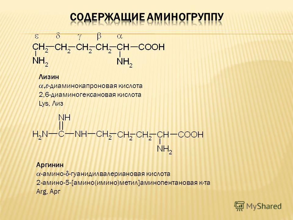 Лизин -диаминокапроновая кислота 2,6-диаминогексановая кислота Lys, Лиз Аргинин -амино- -гуанидилвалериановая кислота 2-амино-5-[амино(имино)метил]аминопентановая к-та Arg, Арг