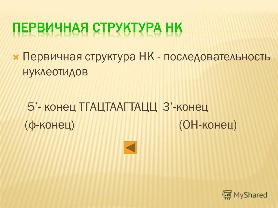 Первичная структура НК - последовательность нуклеотидов 5- конец ТГАЦТААГТАЦЦ 3-конец (ф-конец)(OH-конец)