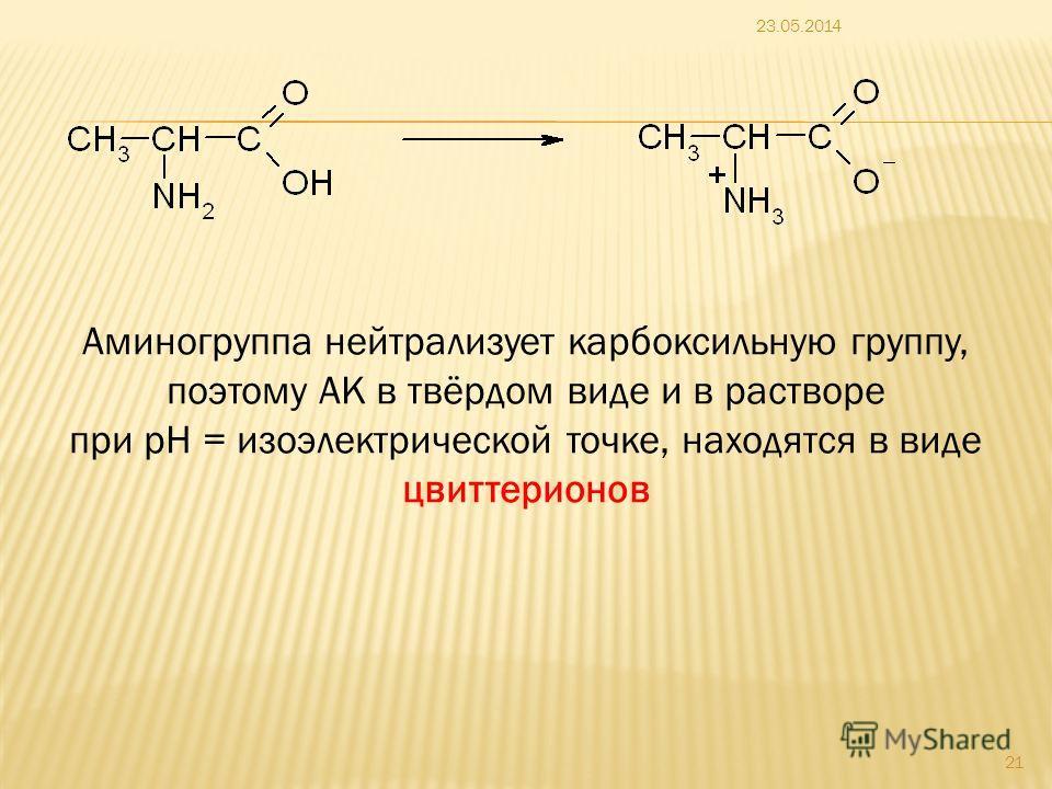 23.05.2014 21 Аминогруппа нейтрализует карбоксильную группу, поэтому АК в твёрдом виде и в растворе при pH = изоэлектрической точке, находятся в виде цвиттерионов