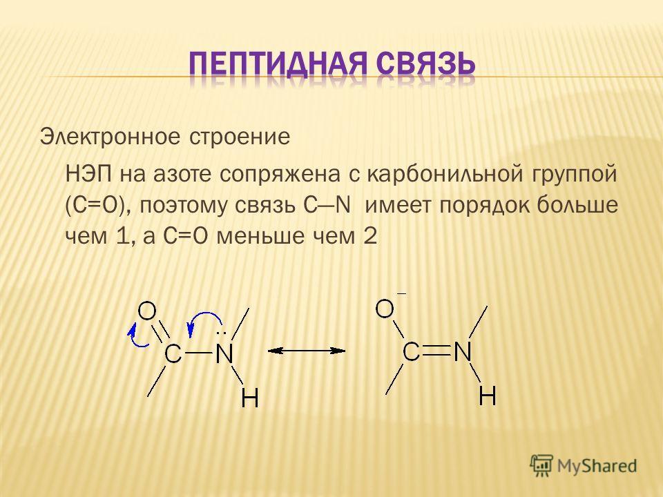 Электронное строение НЭП на азоте сопряжена с карбонильной группой (С=О), поэтому связь CN имеет порядок больше чем 1, а С=О меньше чем 2