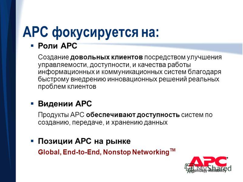 APC фокусируется на: Роли APC Создание довольных клиентов посредством улучшения управляемости, доступности, и качества работы информационных и коммуникационных систем благодаря быстрому внедрению инновационных решений реальных проблем клиентов Видени