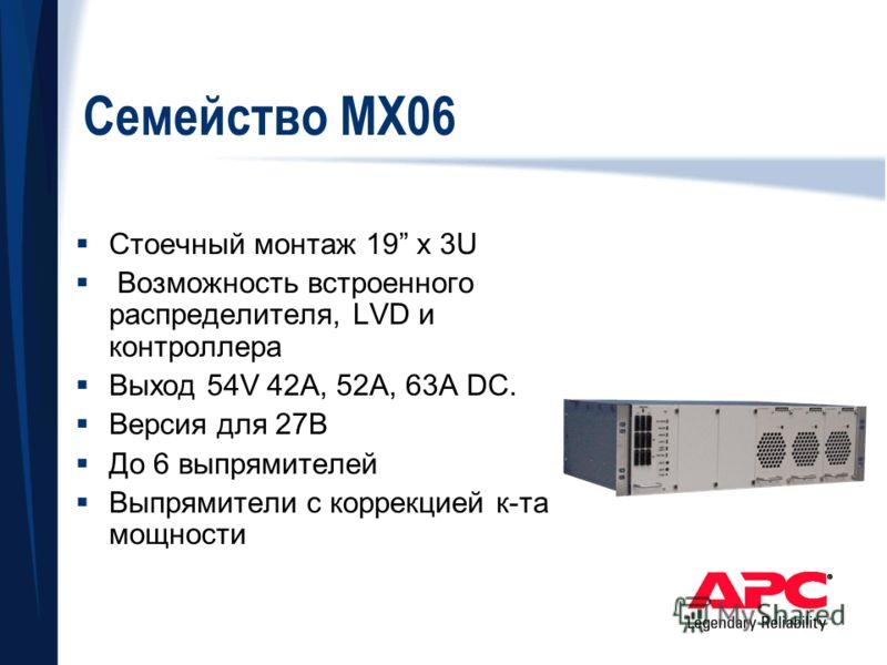 Семейство МХ06 Стоечный монтаж 19 x 3U Возможность встроенного распределителя, LVD и контроллера Выход 54V 42A, 52A, 63A DC. Версия для 27В До 6 выпрямителей Выпрямители с коррекцией к-та мощности