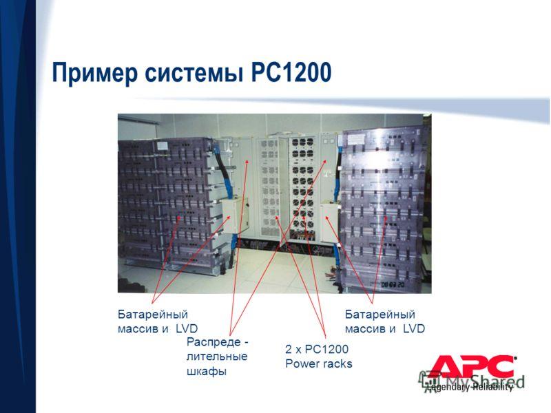 Пример системы РС1200 2 x PC1200 Power racks Батарейный массив и LVD Распреде - лительные шкафы