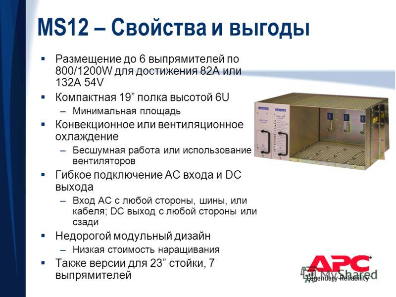 MS12 – Свойства и выгоды Размещение до 6 выпрямителей по 800/1200W для достижения 82A или 132A 54V Компактная 19 полка высотой 6U –Минимальная площадь Конвекционное или вентиляционное охлаждение –Бесшумная работа или использование вентиляторов Гибкое
