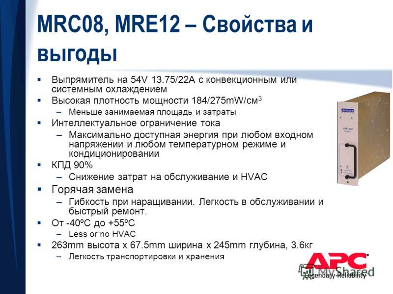 MRC08, MRE12 – Свойства и выгоды Выпрямитель на 54V 13.75/22A с конвекционным или системным охлаждением Высокая плотность мощности 184/275mW/cм 3 –Меньше занимаемая площадь и затраты Интеллектуальное ограничение тока –Максимально доступная энергия пр