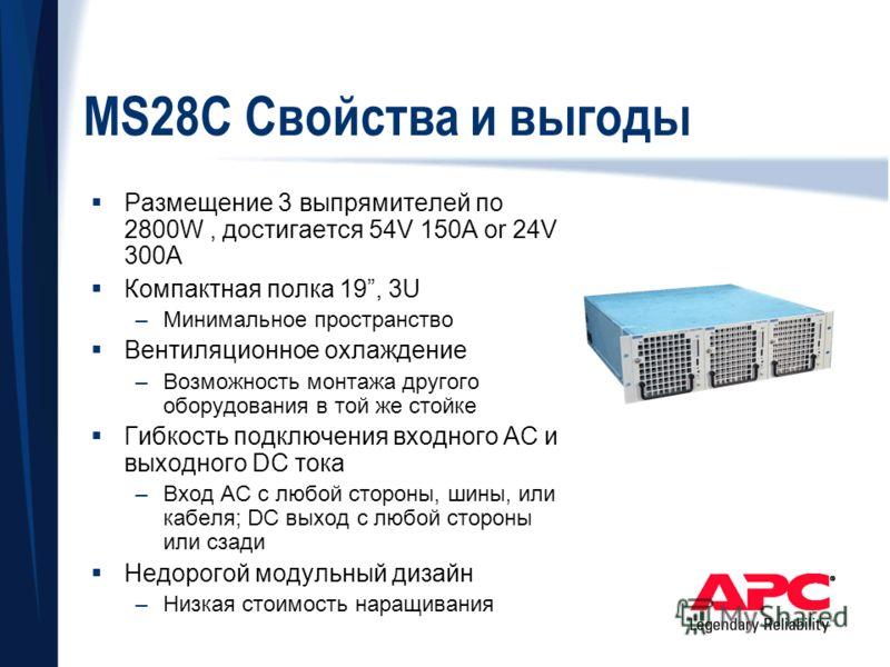 MS28C Свойства и выгоды Размещение 3 выпрямителей по 2800W, достигается 54V 150A or 24V 300A Компактная полка 19, 3U –Минимальное пространство Вентиляционное охлаждение –Возможность монтажа другого оборудования в той же стойке Гибкость подключения вх