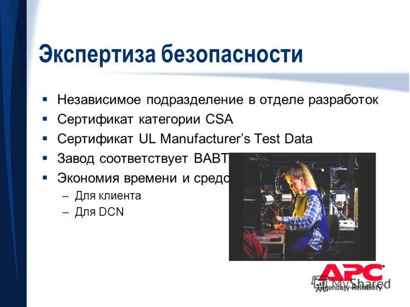 Экспертиза безопасности Независимое подразделение в отделе разработок Сертификат категории CSA Сертификат UL Manufacturers Test Data Завод соответствует BABT Экономия времени и средств –Для клиента –Для DCN