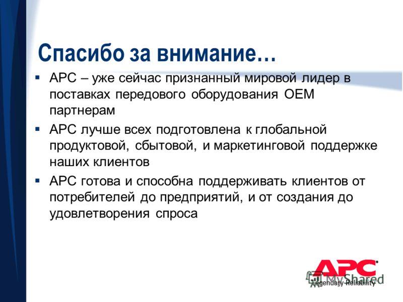 Спасибо за внимание… APC – уже сейчас признанный мировой лидер в поставках передового оборудования OEM партнерам APC лучше всех подготовлена к глобальной продуктовой, сбытовой, и маркетинговой поддержке наших клиентов APC готова и способна поддержива