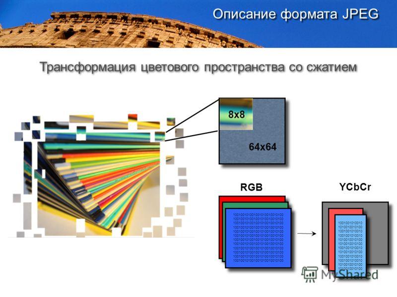 64x64 100100101001001010010010100 RGB YCbCr 1001001010010 1010010010100 1001001010010 1010010010100 1001001010010 1010010010100 1001001010010 1010010010100 Трансформация цветового пространства со сжатием 8x8 Описание формата JPEG