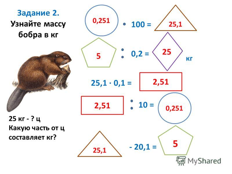 Задание 2. Узнайте массу бобра в кг 0,251 25,1 · 0,1 = 25,1 5 0,2 = кг 2,51 10 = 0,251 25,1 - 20,1 = 5 100 = 25 25 кг - ? ц Какую часть от ц составляет кг?