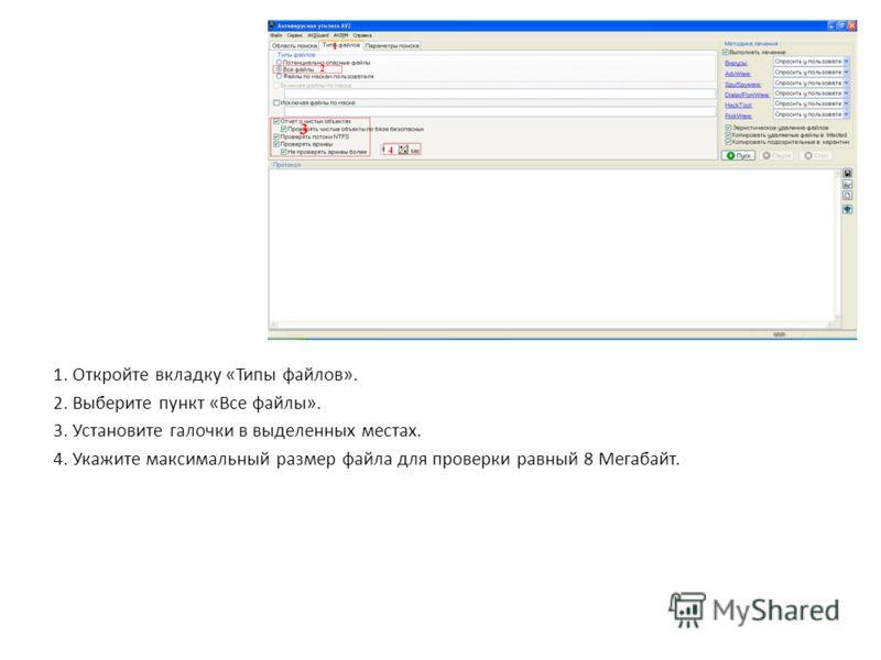 1. Откройте вкладку «Типы файлов». 2. Выберите пункт «Все файлы». 3. Установите галочки в выделенных местах. 4. Укажите максимальный размер файла для проверки равный 8 Мегабайт.