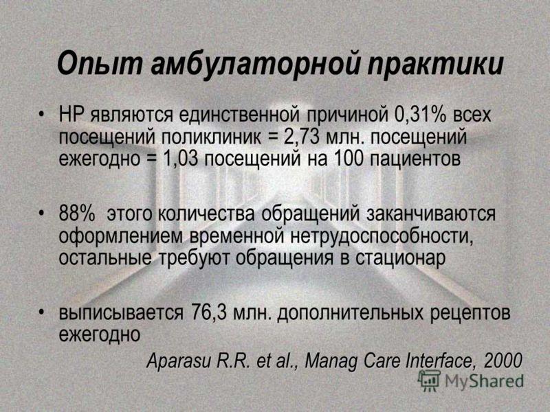 Опыт амбулаторной практики НР являются единственной причиной 0,31% всех посещений поликлиник = 2,73 млн. посещений ежегодно = 1,03 посещений на 100 пациентов 88% этого количества обращений заканчиваются оформлением временной нетрудоспособности, остал