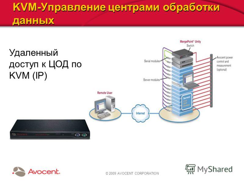 © 2009 AVOCENT CORPORATION KVM-Управление центрами обработки данных Удаленный доступ к ЦОД по KVM (IP)