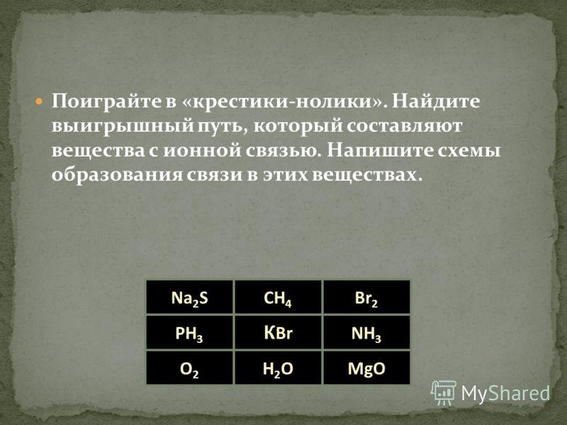 Поиграйте в «крестики-нолики». Найдите выигрышный путь, который составляют вещества с ионной связью. Напишите схемы образования связи в этих веществах. Na 2 SCH 4 Br 2 NH 3 MgO К Br H2OH2O PH 3 O2O2