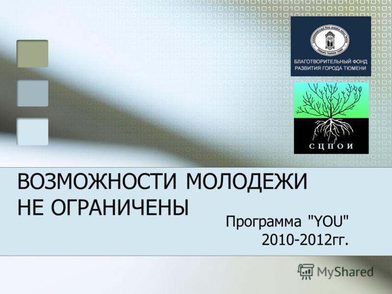 ВОЗМОЖНОСТИ МОЛОДЕЖИ НЕ ОГРАНИЧЕНЫ Программа YOU 2010-2012гг.