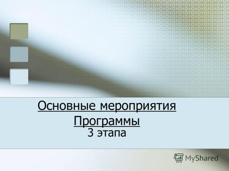 Основные мероприятия Программы 3 этапа