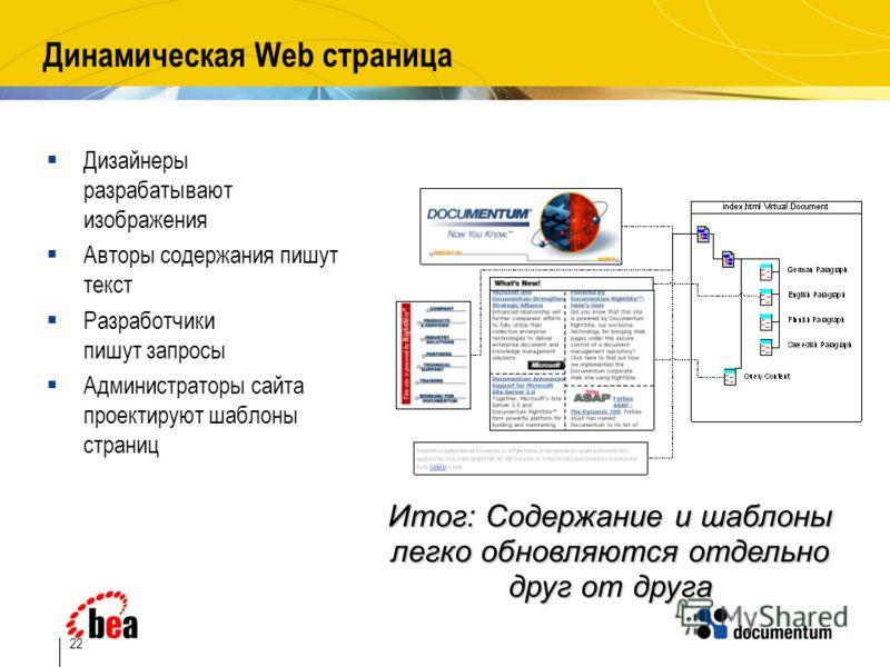 22 Динамическая Web страница Дизайнеры разрабатывают изображения Авторы содержания пишут текст Разработчики пишут запросы Администраторы сайта проектируют шаблоны страниц Итог: Содержание и шаблоны легко обновляются отдельно друг от друга