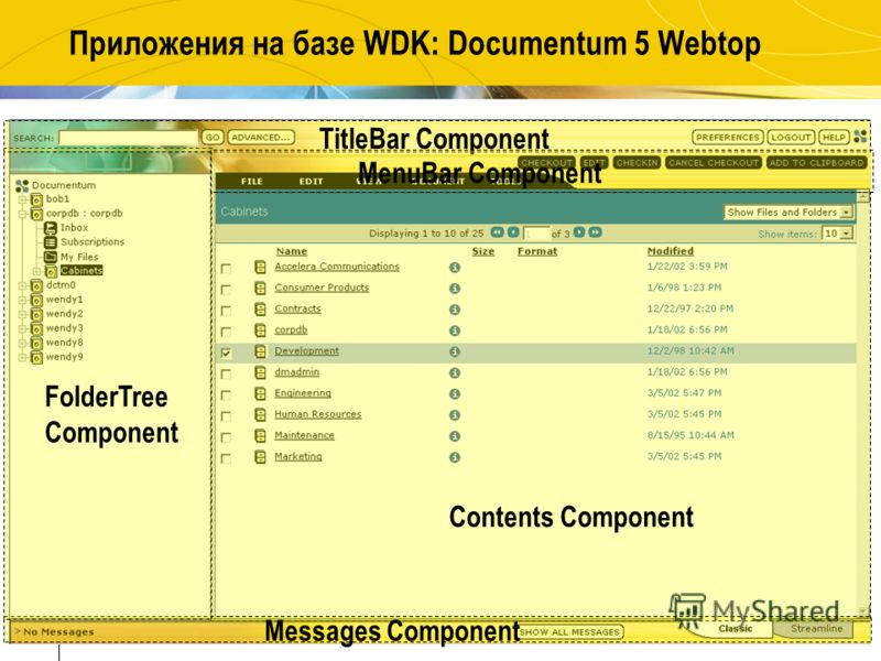 34 Приложения на базе WDK: Documentum 5 Webtop Contents Component Messages Component FolderTree Component TitleBar Component MenuBar Component