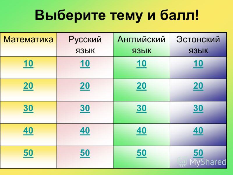 Выберите тему и балл! МатематикаРусский язык Английский язык Эстонский язык 10 20 30 40 50