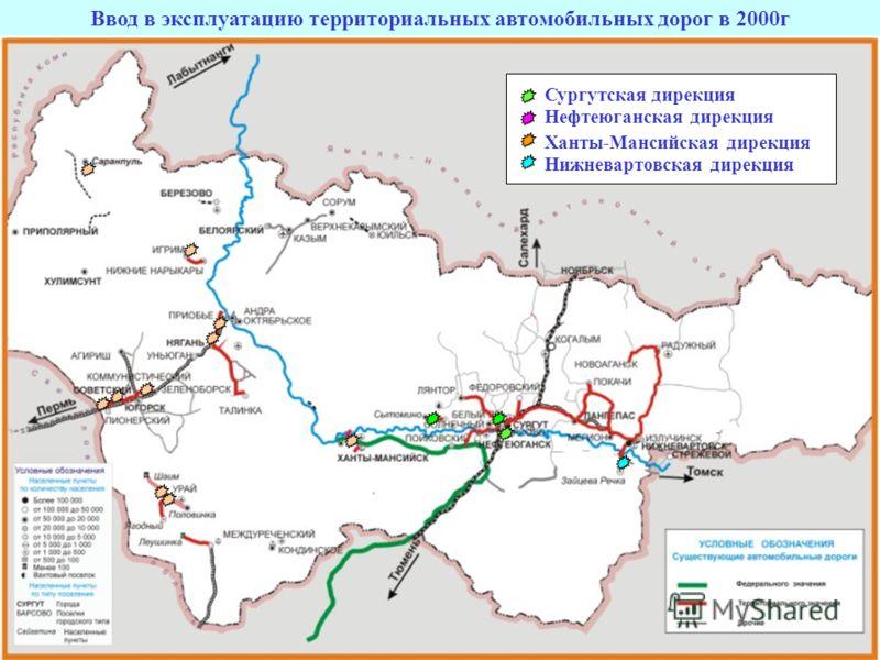 Ввод в эксплуатацию территориальных автомобильных дорог в 2000г Нефтеюганская дирекция Ханты-Мансийская дирекция Нижневартовская дирекция Сургутская дирекция