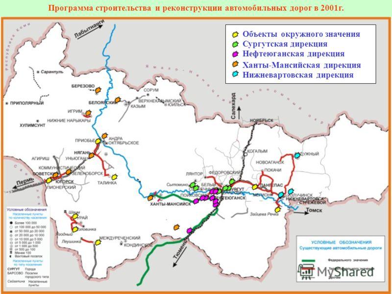 Программа строительства и реконструкции автомобильных дорог в 2001г. Объекты окружного значения Сургутская дирекция Нефтеюганская дирекция Ханты-Мансийская дирекция Нижневартовская дирекция