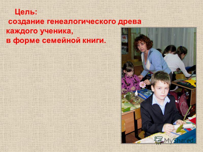 Цель: создание генеалогического древа каждого ученика, в форме семейной книги.