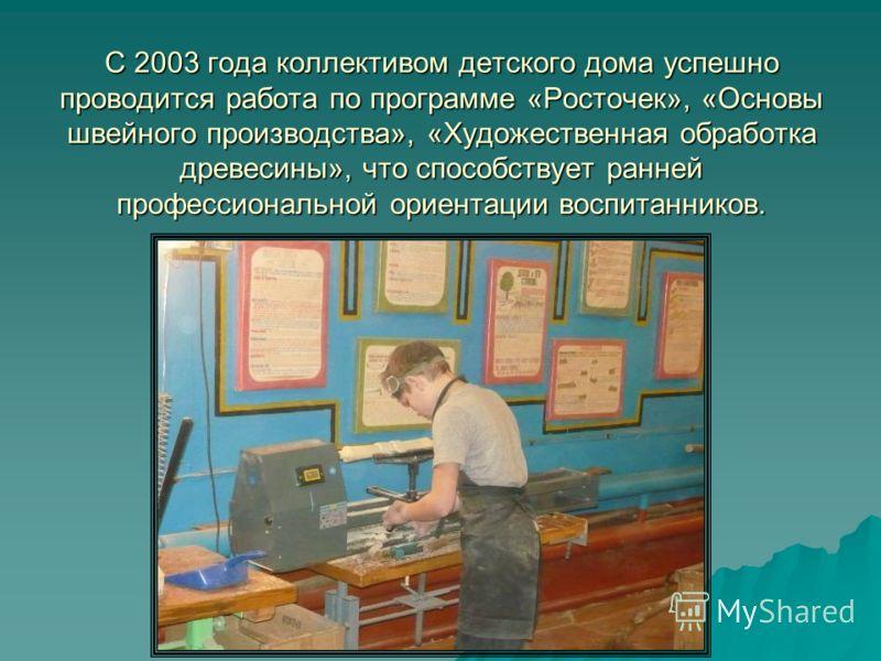 С 2003 года коллективом детского дома успешно проводится работа по программе «Росточек», «Основы швейного производства», «Художественная обработка древесины», что способствует ранней профессиональной ориентации воспитанников.