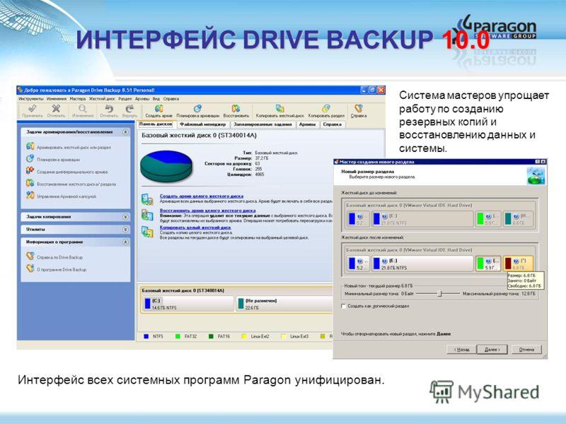 ИНТЕРФЕЙС DRIVE BACKUP 10.0 Система мастеров упрощает работу по созданию резервных копий и восстановлению данных и системы. Интерфейс всех системных программ Paragon унифицирован.