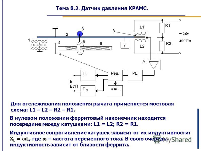 Тема 8.2. Датчик давления КРАМС. Для отслеживания положения рычага применяется мостовая схема: L1 – L2 – R2 – R1. В нулевом положении ферритовый наконечник находится посередине между катушками: L1 = L2; R2 = R1. A 5 6 4 8 3 2 1 В БУП R2 R1 РД 7 Ред.