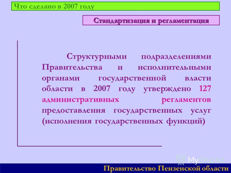Что сделано в 2007 году Структурными подразделениями Правительства и исполнительными органами государственной власти области в 2007 году утверждено 127 административных регламентов предоставления государственных услуг (исполнения государственных функ
