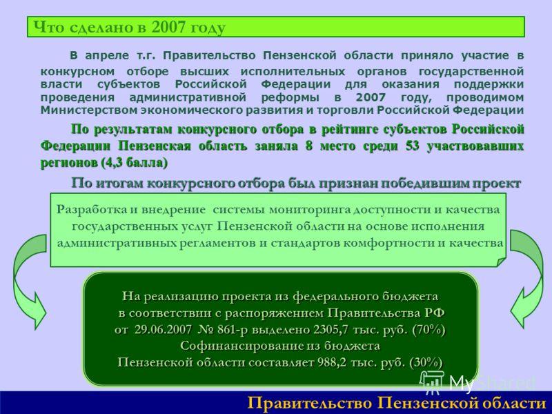 В апреле т.г. Правительство Пензенской области приняло участие в конкурсном отборе высших исполнительных органов государственной власти субъектов Российской Федерации для оказания поддержки проведения административной реформы в 2007 году, проводимом