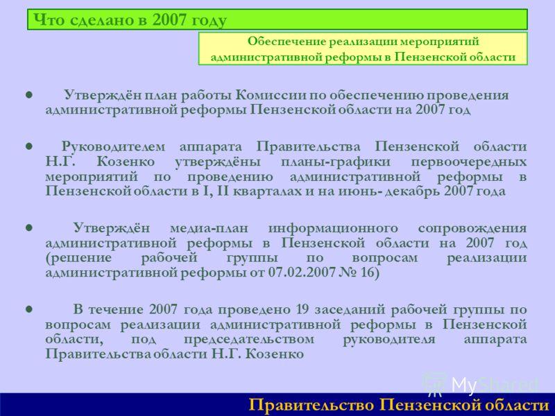 Что сделано в 2007 году Утверждён план работы Комиссии по обеспечению проведения административной реформы Пензенской области на 2007 год Руководителем аппарата Правительства Пензенской области Н.Г. Козенко утверждёны планы-графики первоочередных меро