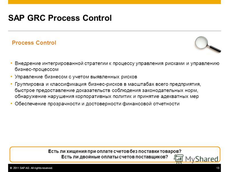 ©2011 SAP AG. All rights reserved.13 SAP GRC Process Control Внедрение интегрированной стратегии к процессу управления рисками и управлению бизнес-процессом Управление бизнесом с учетом выявленных рисков Группировка и классификация бизнес-рисков в ма