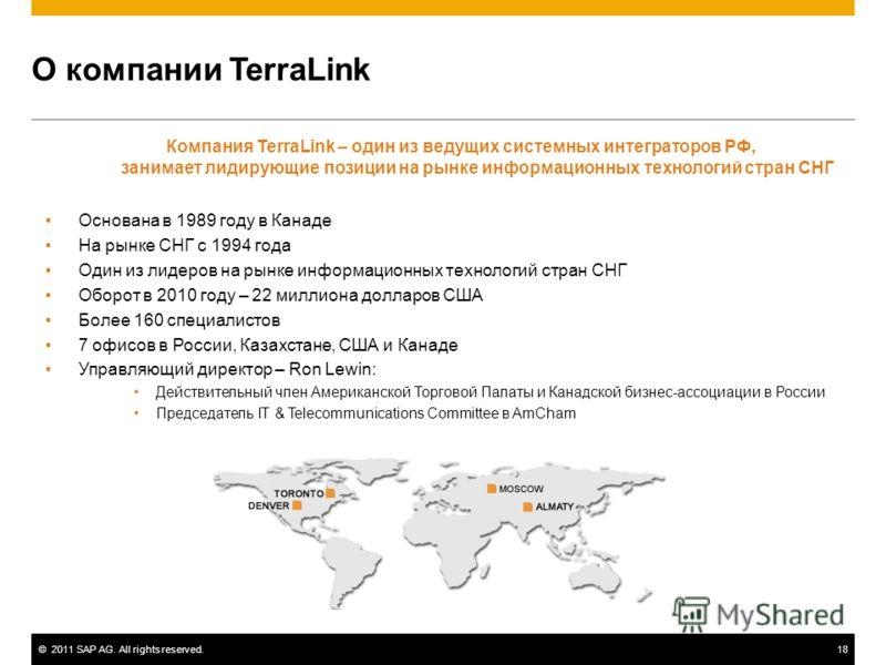 ©2011 SAP AG. All rights reserved.18 О компании TerraLink Компания TerraLink – один из ведущих системных интеграторов РФ, занимает лидирующие позиции на рынке информационных технологий стран СНГ Основана в 1989 году в Канаде На рынке СНГ с 1994 года