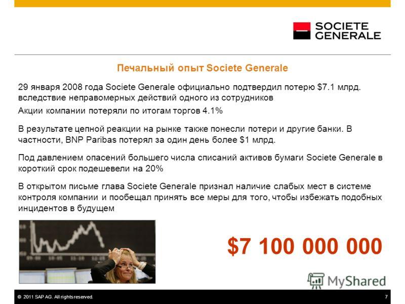 ©2011 SAP AG. All rights reserved.7 Печальный опыт Societe Generale 29 января 2008 года Societe Generale официально подтвердил потерю $7.1 млрд. вследствие неправомерных действий одного из сотрудников Акции компании потеряли по итогам торгов 4.1% В р