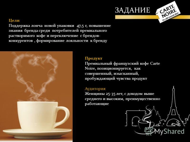 Продукт Премиальный французский кофе Carte Noire, позиционируется, как совершенный, изысканный, пробуждающий чувства продукт Аудитория Женщины 25-35 лет, с доходом выше среднего и высоким, преимущественно работающие Цели Поддержка лонча новой упаковк