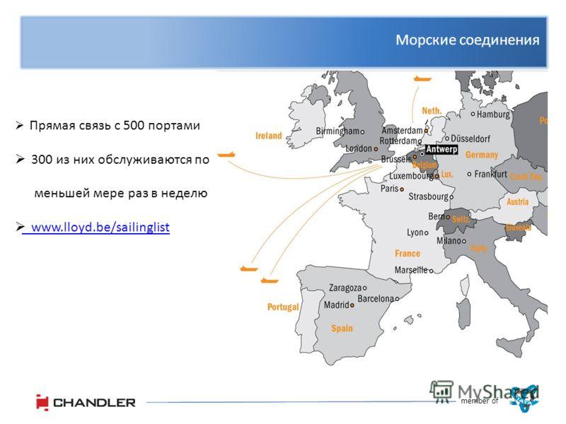 Морские соединения member of Прямая связь с 500 портами 300 из них обслуживаются по меньшей мере раз в неделю www.lloyd.be/sailinglist