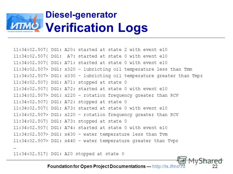 22Foundation for Open Project Documentations http://is.ifmo.ru Diesel-generator Verification Logs 11:34:02.507{ DG1: A20: started at state 2 with event e10 11:34:02.507{ DG1: A7: started at state 0 with event e10 11:34:02.507{ DG1: A71: started at st
