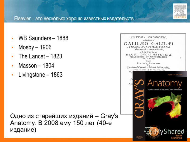 WB Saunders – 1888 Mosby – 1906 The Lancet – 1823 Masson – 1804 Livingstone – 1863 Elsevier – это несколько хорошо известных издательств Одно из старейших изданий – Grays Anatomy. В 2008 ему 150 лет (40-е издание)