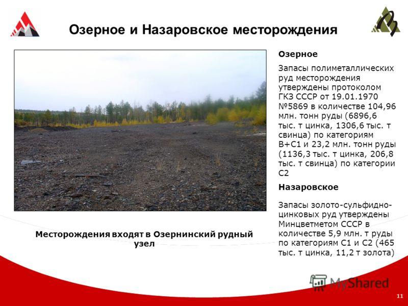 11 Озерное и Назаровское месторождения Озерное Запасы полиметаллических руд месторождения утверждены протоколом ГКЗ СССР от 19.01.1970 5869 в количестве 104,96 млн. тонн руды (6896,6 тыс. т цинка, 1306,6 тыс. т свинца) по категориям В+С1 и 23,2 млн.