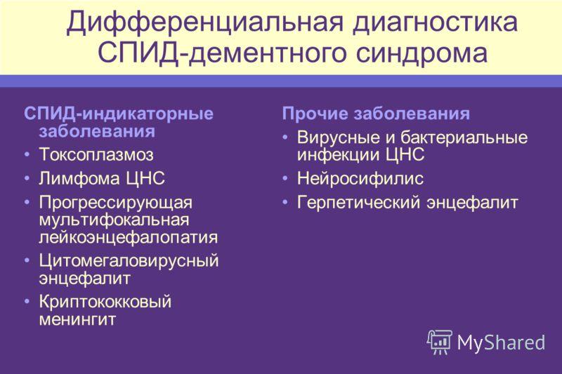 Дифференциальная диагностика СПИД-дементного синдрома СПИД-индикаторные заболевания Токсоплазмоз Лимфома ЦНС Прогрессирующая мультифокальная лейкоэнцефалопатия Цитомегаловирусный энцефалит Криптококковый менингит Прочие заболевания Вирусные и бактери