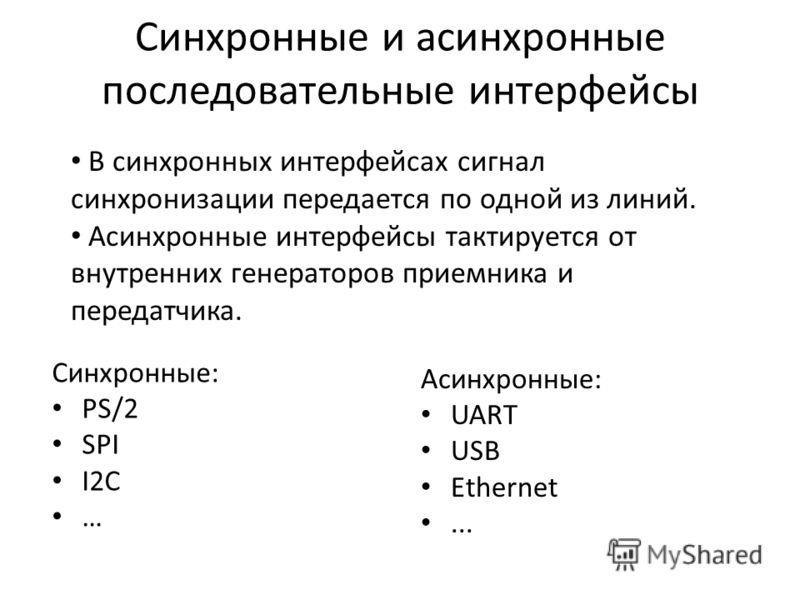 Синхронные и асинхронные последовательные интерфейсы Синхронные: PS/2 SPI I2C … Асинхронные: UART USB Ethernet... В синхронных интерфейсах сигнал синхронизации передается по одной из линий. Асинхронные интерфейсы тактируется от внутренних генераторов