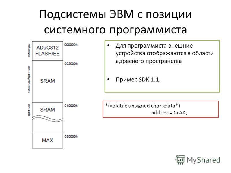 Подсистемы ЭВМ с позиции системного программиста Для программиста внешние устройства отображаются в области адресного пространства Пример SDK 1.1. *(volatile unsigned char xdata*) address= 0xAA;