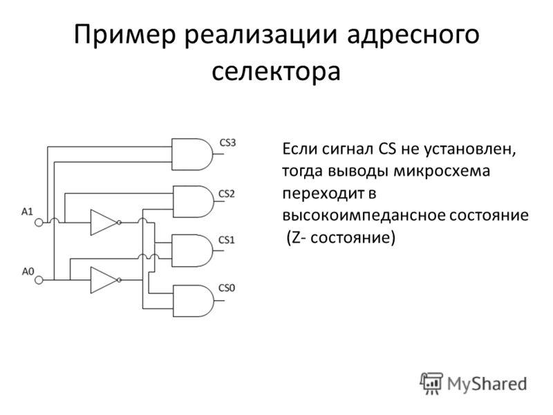 Пример реализации адресного селектора Если сигнал CS не установлен, тогда выводы микросхема переходит в высокоимпедансное состояние (Z- состояние)