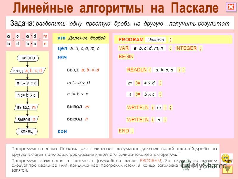 Задача: разделить одну простую дробь на другую - получить результат Программа на языке Паскаль для вычисления результата деления одной простой дроби на другую является примером реализации линейного вычислительного алгоритма. Программа начинается с за