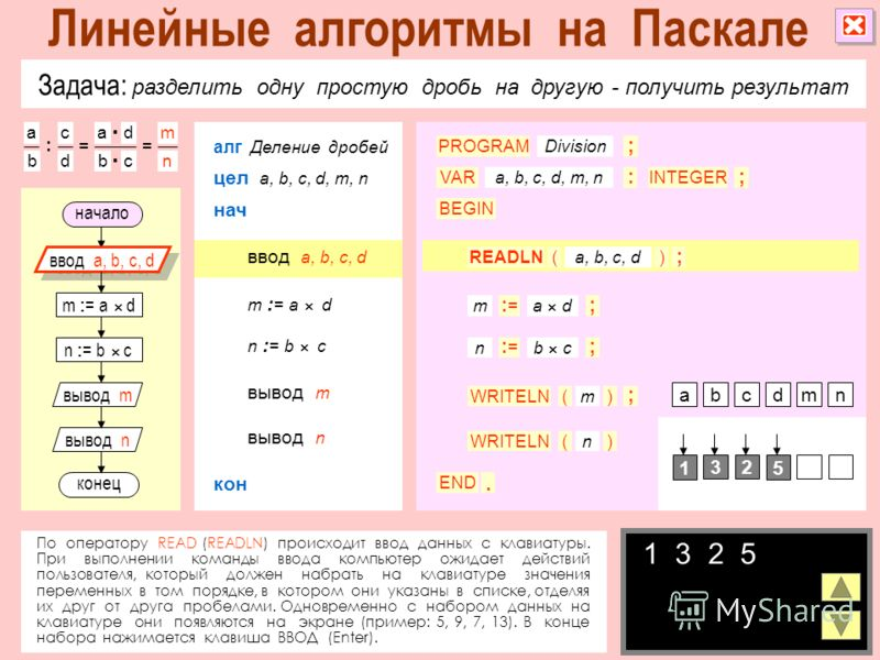 Задача: разделить одну простую дробь на другую - получить результат По оператору READ (READLN) происходит ввод данных с клавиатуры. При выполнении команды ввода компьютер ожидает действий пользователя, который должен набрать на клавиатуре значения пе