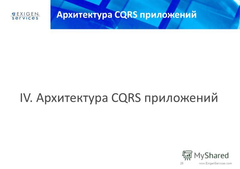 28 www.ExigenServices.com Архитектура CQRS приложений IV. Архитектура CQRS приложений