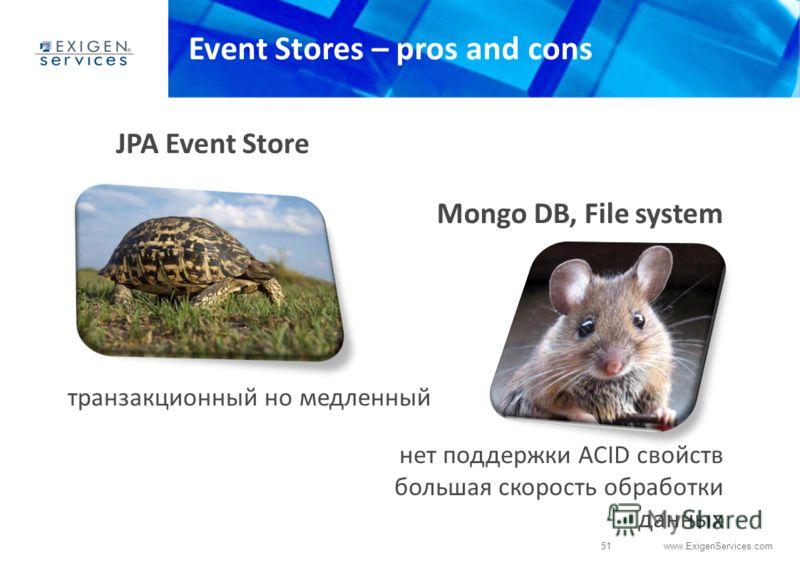 51 www.ExigenServices.com Event Stores – pros and cons нет поддержки ACID свойств большая скорость обработки данных JPA Event Store транзакционный но медленный Mongo DB, File system