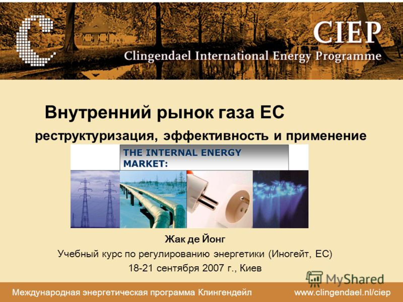 Международная энергетическая программа Клингендейл www.clingendael.nl/ciep Внутренний рынок газа ЕС реструктуризация, эффективность и применение Жак де Йонг Учебный курс по регулированию энергетики (Иногейт, ЕС) 18-21 сентября 2007 г., Киев
