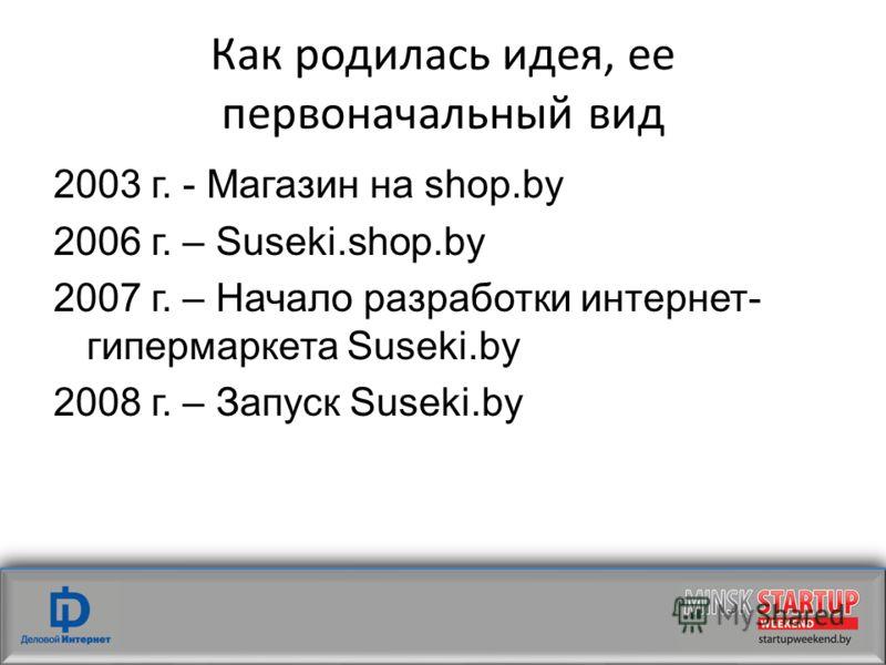 Как родилась идея, ее первоначальный вид 2003 г. - Магазин на shop.by 2006 г. – Suseki.shop.by 2007 г. – Начало разработки интернет- гипермаркета Suseki.by 2008 г. – Запуск Suseki.by